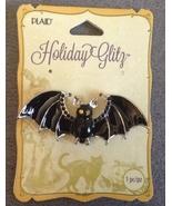 Large Halloween Enamel Black Bat wiht Gems Necklace Pendant Spooky Jewelry  - $9.99