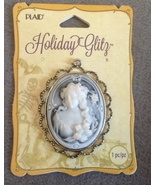 Large Halloween Ghostly Victorian Cameo Necklace Pendant Spooky Jewelry  - $9.99