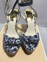 Michael Kors Benji Platform Heel Sandals Canvas Leather Ankle Strap Navy... - $69.30