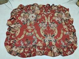 RALPH LAUREN MARSEILLES DANIELLE FLORAL RED ruffled Pillow sham NWOT - $16.07