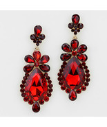Elegant Siam Red Crystal Flower Drop Dangle Chandelier Earring - $24.95