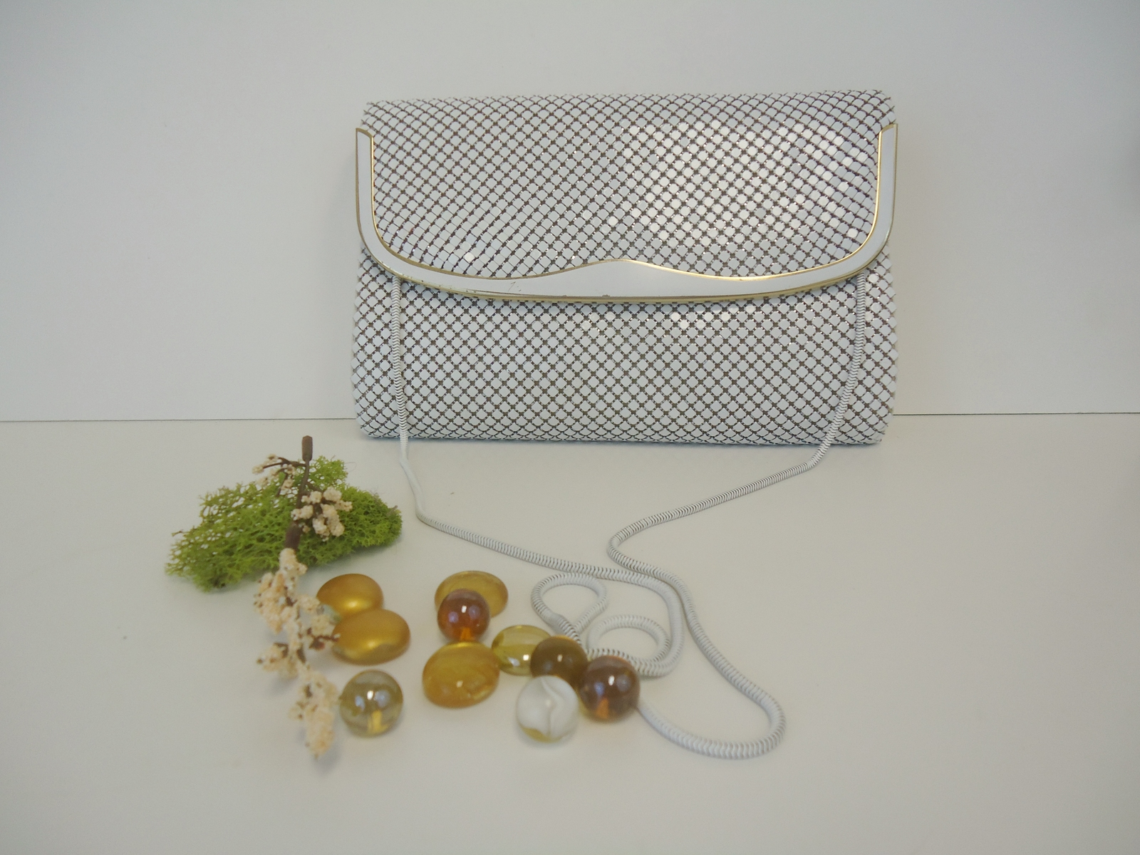 Primary image for Women's Purse Shoulder Bag Whitey Color Metal Mesh
