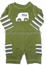 Gymboree Little Milkman 3-6 mo Newborn Green Milk Truck Romper Striped N... - $15.79