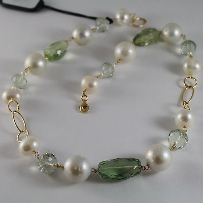 18K YELLOW GOLD NECKLACE BIG WHITE PEARLS & CUSHION PRASIOLITE CHAIN, ITALY MADE