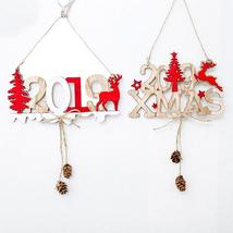 New Year Alphabet House Plate Christmas Hollow Decoration Door Hanging Pendant - $2.23