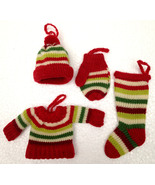 Christmas Ornaments Christmas Sweater Xmas Hat Mitten Christmas Knit Sto... - $19.99