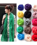 women fashion solid cotton voile warm soft silk scarf shawl cape  available - $4.93