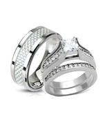 His & Hers Stainless Steel Princess Cut CZ Wedding Ring Set Size 5,6,7,8... - $39.99