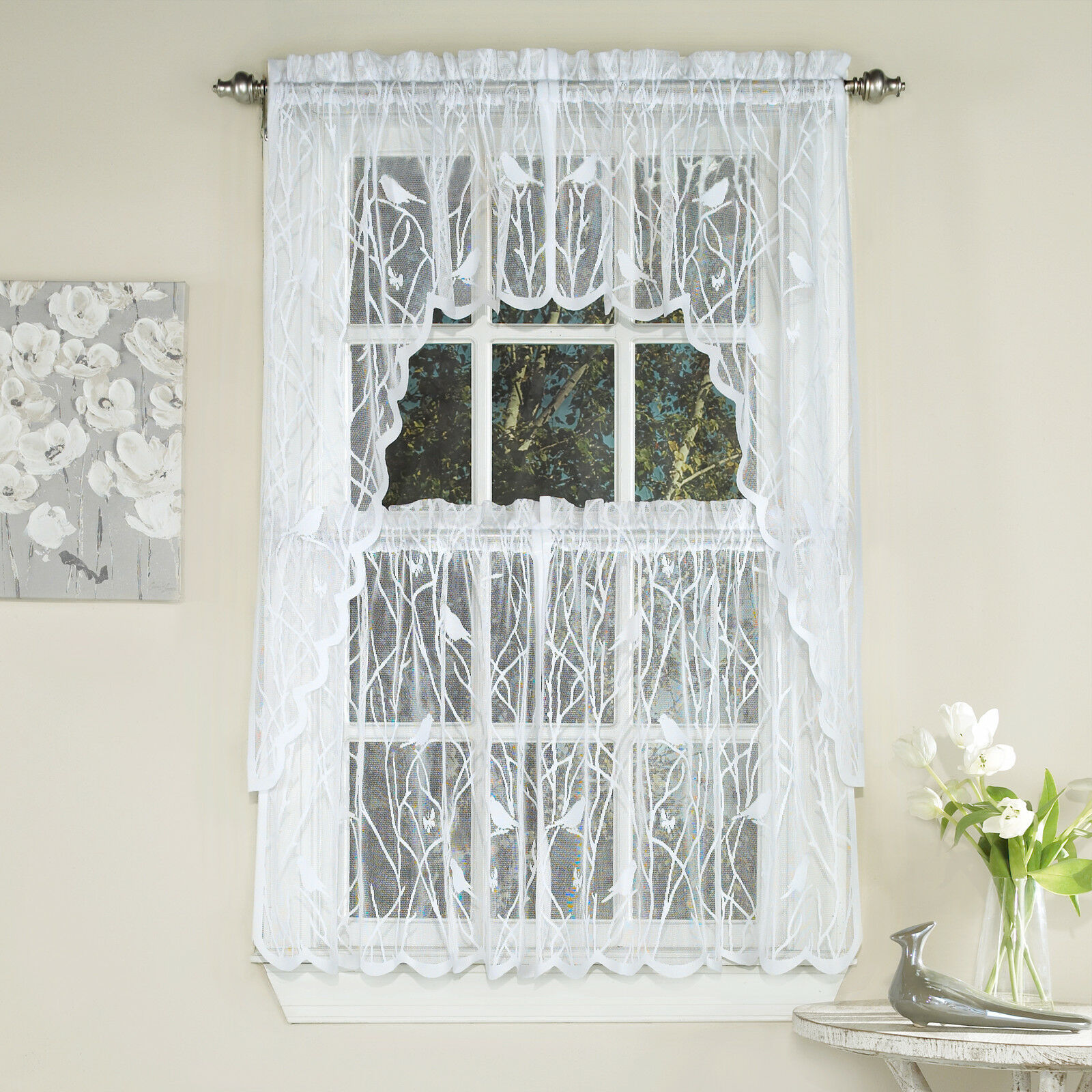 Primary image for Knit Lace Bird Motif Kitchen Window Curtain Tiers, Swags or Valance White