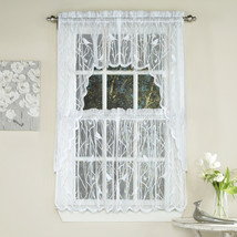 Knit Lace Bird Motif Kitchen Window Curtain Tiers, Swags or Valance White - $13.79