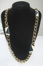 Monet Navy Blue & White Enamel Link Necklace - $100.00