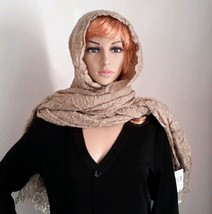 Echo Wrap / Scarf Beige Crinkle Look Fashion Ac... - $14.89