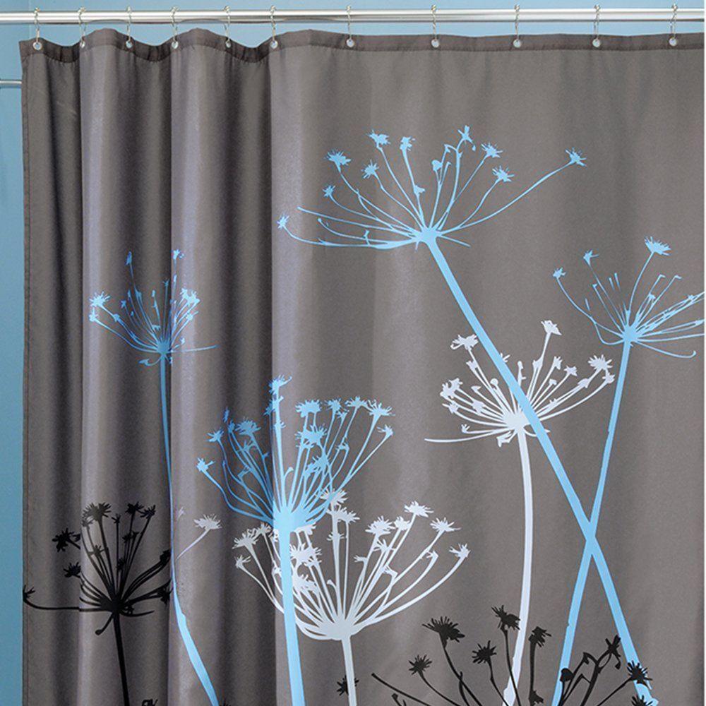 "InterDesign Bathroom Shower Curtain Thistle Gray/Blue Modern Decor 72""! 37221"