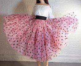 Pink Polka-Dot Puffy Tutu Skirt Outfit A-line Layered Plus Size Puffy Midi Skirt image 4