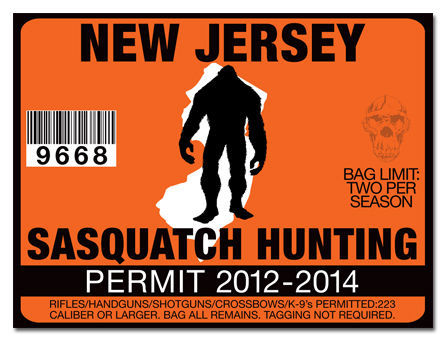 Sasquatch hunting permit license decal sticker polaris for New jersey fishing license