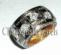 !!Victorian/Vintage Style 1.85 Ctw RoseCut/Polky Diamond .925 Silver Ring - $290.02