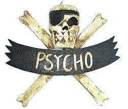 "LG 12 inch Hand Carved Wood Pirate Skull Cross Bone ""Psycho"" Sign Plaque... - $22.76"