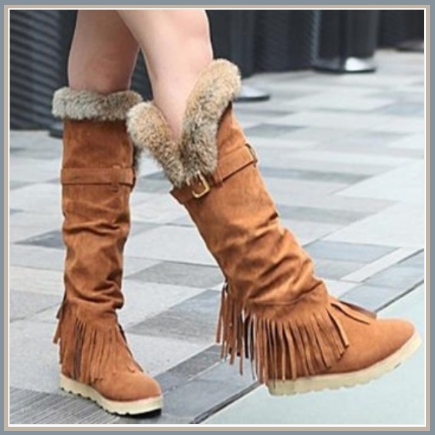 Tall Wilderness Trail Rabbit Fur Fringed Camel Tan Suede Moccasin Snow Boots