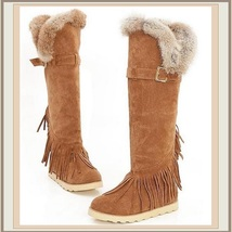 Tall Wilderness Trail Rabbit Fur Fringed Camel Tan Suede Moccasin Snow Boots image 2