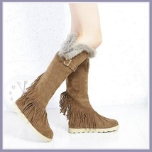 Tall Wilderness Trail Rabbit Fur Fringed Khaki Tan Suede Moccasin Snow Boots
