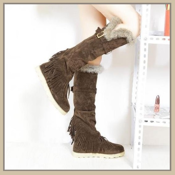 Tall Wilderness Trail Rabbit Fur Fringed Brown Suede Moccasin Snow Boots