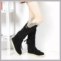 Tall Wilderness Trail Rabbit Fur Fringed Black Suede Moccasin Snow Boots - ₨8,793.25 INR+