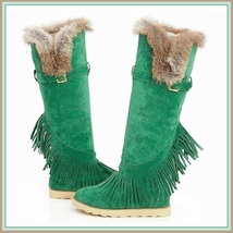 Tall Wilderness Trail Rabbit Fur Fringed Mint Green Suede Moccasin Snow Boots