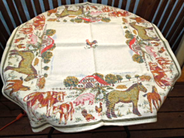 """Lovely Damask Austrian Made Farm House Scene Tablecloth - 36"""" Square #6658 - $34.99"""