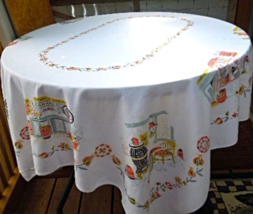 """Mid-Century Linen Tablecloth General Store Theme - Size approx  52""""x 58""""   #6511 - $29.99"""
