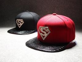 Heavy metal diamond Superman hats for men and women flat hip-hop cap