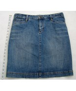 IZOD Jeans Mini Skirt Short Above Knee Indigo Blue Denim Womens Pockets ... - $24.00