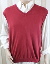BROOKS BROTHERS 346 Men's L Large Red/Burgundy V-Neck Sweater Vest GUC - $28.05