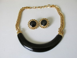 Vintage / Retro Black Enameled Monet Choker & Pierced Earrings Set - $16.00