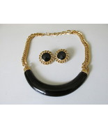Vintage / Retro Black Enameled Monet Choker & Pierced Earrings Set - £12.45 GBP
