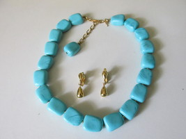 Vintage / Retro Trifari Turquoise Beaded Necklace,Tear Drop Clip Dangle ... - €13,56 EUR