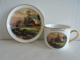 Thomas Kinkade RIVERBEND FARM Gilt Porcelain Cup & Saucer Excellent Ship Fast - $14.99