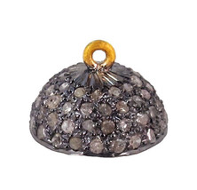 New 14k Yellow Gold Bead Cap .71ct Diamond Pave 925 Silver 12mm Findings... - $144.93