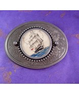 Scrimshaw Vintage Buckle USA Sailing Ship Nautical Men's Belt Accessory - $65.00