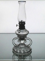 Vintage pegged oil lamp clear 3 section 10.25 x 4.5 early 1900 s 001 thumb200