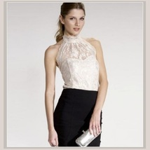 Haute Ivory Lace Layered Over Backless Velour Sleeveless Sexy Turtleneck Top