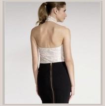 Haute Ivory Lace Layered Over Backless Velour Sleeveless Sexy Turtleneck Top image 2