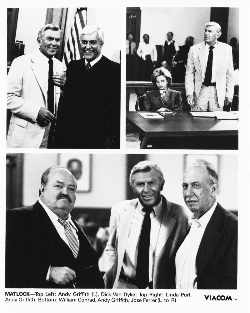 Matlock Andy Griffith William Conrad Dick Van Dyke Linda Purl Press Photo TV
