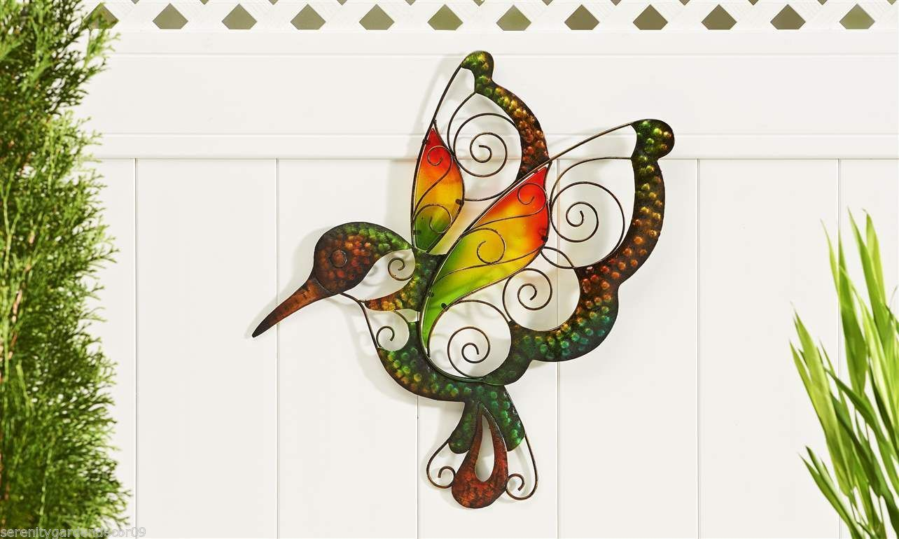 "18.8"" Glass & Iron Hummingbird Design Indoor Outdoor Wall Decor Plaque"