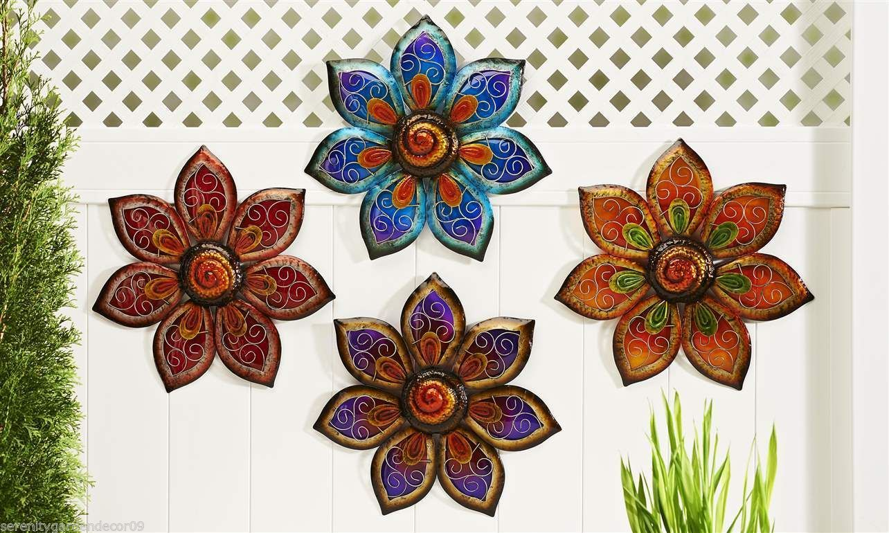 Set of 4 Large Painted Glass & Iron Flower Design Indoor Outdoor Wall Decor