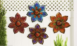Set of 4 Large Painted Glass & Iron Flower Design Indoor Outdoor Wall De... - $158.39