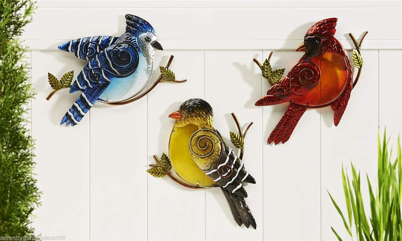 Set of 3 Glass & Iron Bird Design Wall Decor Blue Jay, Cardinal, Yellow Bird