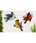 Set of 3 Glass & Iron Bird Design Wall Decor Blue Jay, Cardinal, Yellow ... - $74.24