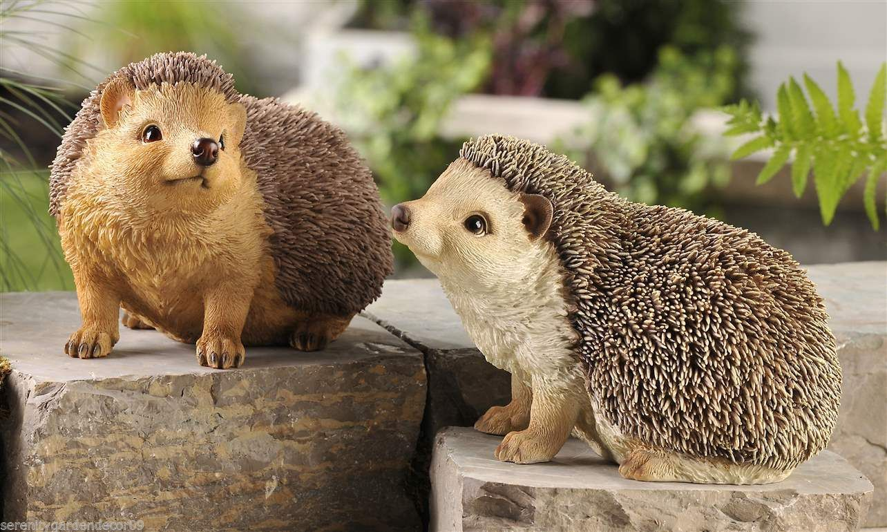 Set of 2 Hedgehog Garden Figurines Poly Resin with Textural Detailing