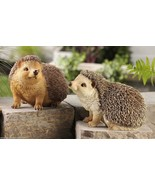 Set of 2 Hedgehog Garden Figurines Poly Resin with Textural Detailing - $74.24
