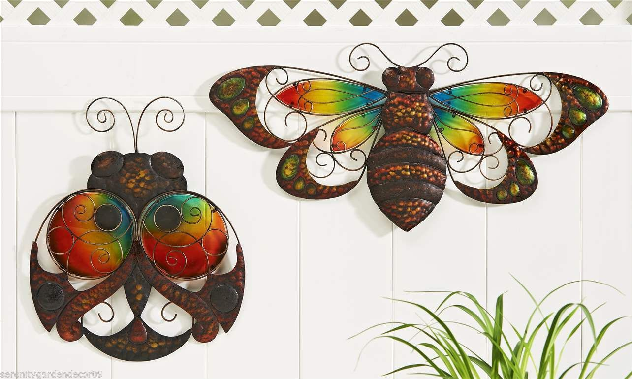 Set of 2 Glass & Iron Ladybug & Bumblebee Bee Design Indoor Outdoor Wall Decor